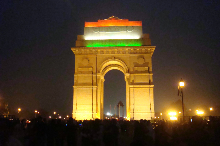 India Gate was built as a war memorial for soldiers in World War I. Today it marks the notional centre of Delhi