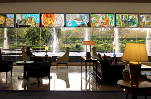 The lobby at ITC Maurya, part of Starwood's Luxury Collection has original art work by MY Husain