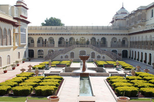 A view of an inner courtyard in Rambagh Palace.