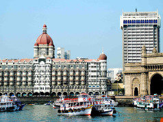 Two Mumbai icons: Gatway of India and the Taj Hotel