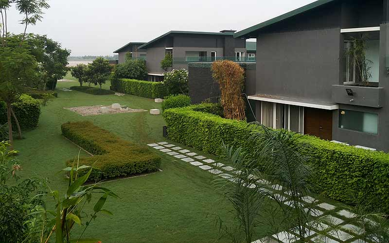 The villas at Aalia with the Ganga in the backdrop