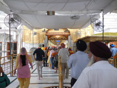 Devotees entering the Harmandir Sahib for evening prayers