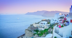 Sunset in Santorini island, Greece, image