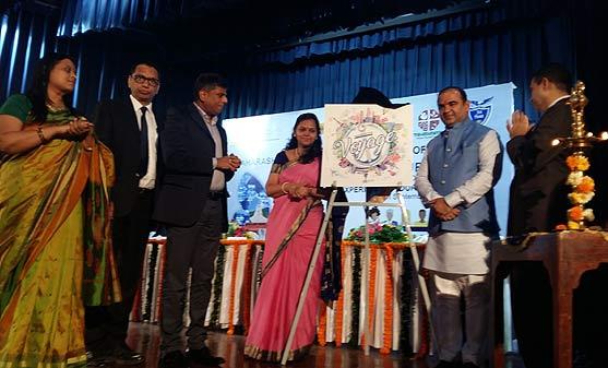 L-R - Smt. Swati Kale, GM of MTDC; Shri. Satish Soni, JMD of MTDC; Dr. K.H. Govind Raj IAS, MD of MTDC; Smt. Valsa Nair Singh IAS, Principal Secretary, Tourism & Cultural, Government of Maharashtra & Shri. Jaykumar Jitendrasinh Rawal, Hon'ble Minister of Tourism, Government of Maharashtra celebrating World Tourism Day at Jai Hind College