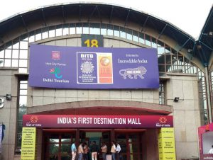The entrance to the fair sports the ITB Berlin logo for the first time in India