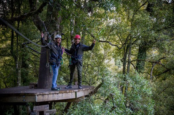 Sidharth experiencing the thrill of ziplining