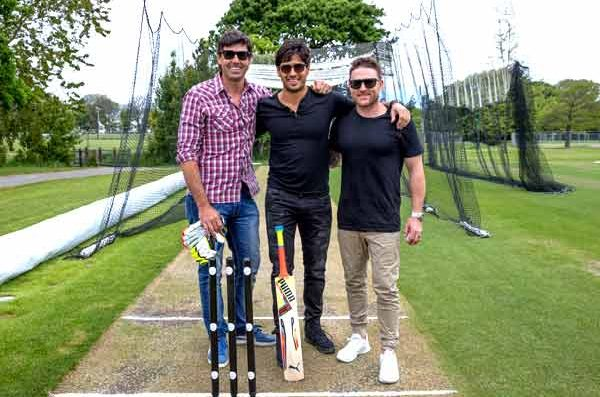 Enjoying cricket match with ex Black Cap cricketers Stephen Fleming and Brendon McCullum at Hagley Park, the largest park in Christchurch