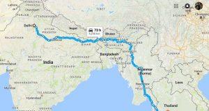 delhi to bangkok by road map
