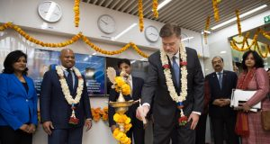Boeing Announces Launch of Engineering & Technology Center in Bangalore. Greg Hyslop, Chief Technology Officer, Boeing and Senior Vice President, Boeing Engineering, Test & Technology, lighting the lamp at the launch