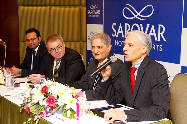 Sarovar deal L - R - Saurabh Chawla, Pierre-Frédéric Roulot, Anil Madhok, Ajay K. Bakaya.jpg