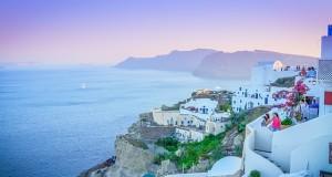 Sunset in Santorini island, Greece, image