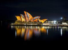 Vivid Sydney2016, Sydney Opera House, Songlines, Artist Donny Woolagoodja. Credit: DestinationNSW, JH 0004 (PRNewsFoto/Destination NSW)